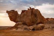 """صور.. """"صخرة الجمل"""".. تحفة نادرة تجذب السياح في الوجه بتبوك"""